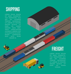 Shipping freight isometric banner vector
