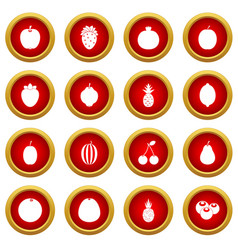 Fruit icon red circle set vector