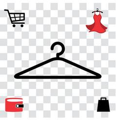 Black clothes hanger icon vector
