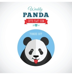 Weekly panda cute flat animal icon - tongue out vector