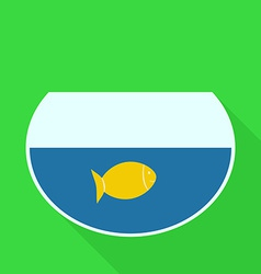 Aquarium with gold fish flat design icon vector