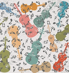 Grunge vintage background with violins and musical vector