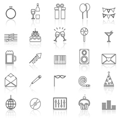 Celebration line icons with reflect on white vector