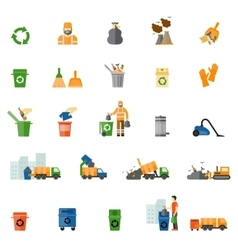 Garbage and trash flat icons set vector