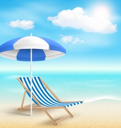 Beach with sun beach umbrella beach chair and vector