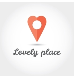 Map pointer in the form of heart icon vector