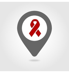 Awareness ribbon map pin icon vector