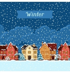 Winter urban landscape card with houses and trees vector