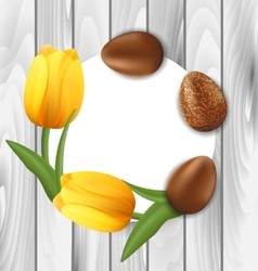 Greeting card with easter chocolate eggs and vector