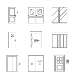 Doors line icons vector