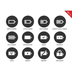 Battery charge levels icons on white background vector image