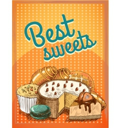 Best sweets pastry poster vector image