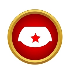 Cap with red star icon in simple style vector