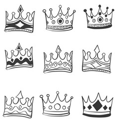 Collection crowns style of doodles vector
