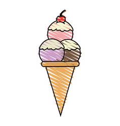 Color crayon stripe cartoon ice cream cone with vector