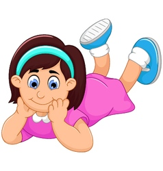 cute little girl cartoon prone vector image