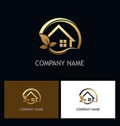 eco house golden logo vector image vector image