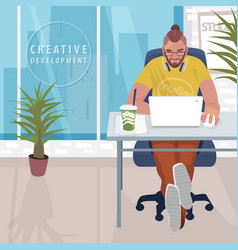 Fashionable designer working in modern office vector