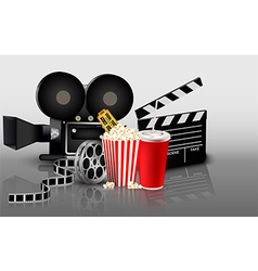 Film popcorn and drink vector