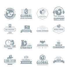 global business logo icons set simple style vector image