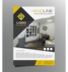 Grey yellow brochure flyer design Leaflet vector image vector image
