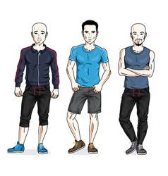 Happy men group standing wearing stylish sport vector