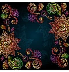 Indigo Vintage background with Indian Ornament vector image