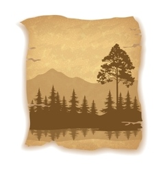 Landscape Trees River and Mountains vector image vector image