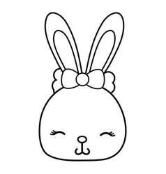 Line shy rabbit head female wild animal vector