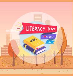 Literacy day postcard autumn vector