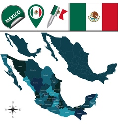 Mexico map with named divisions vector image vector image