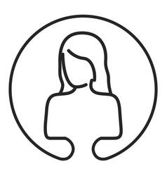 monochrome circular emblem silhouette of female vector image