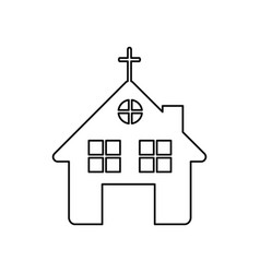 monochrome contour of church in white background vector image vector image