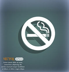 No smoking icon symbol on the blue-green abstract vector