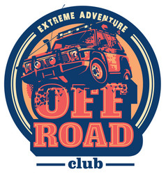 off-road car logo safari suv expedition vector image