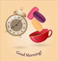 Old alarm clock cup of tea and macaroons vector image vector image