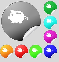 Piggy bank icon sign set of eight multi colored vector