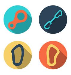 set flat icons of climbing equipment vector image