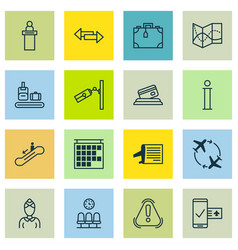 Set of 16 travel icons includes timetable vector