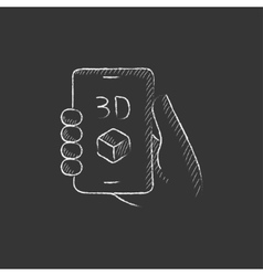 Smartphone with three d box drawn in chalk icon vector