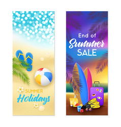 Summer beach 2 vertical banners vector