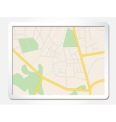 Tablet screen with city map vector