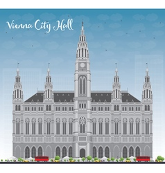 Vienna city hall in gray color with blue sky vector