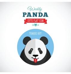 Weekly Panda Cute Flat Animal Icon - Tongue Out vector image