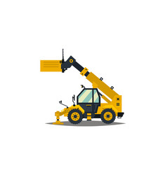 yellow telehandler isolated on white background vector image