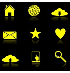 Yellow Web icons on the black vector image vector image