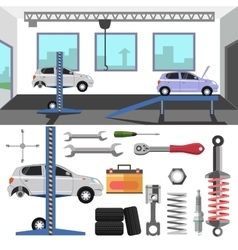 Tire service center of car vector