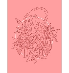 Flamingo bird tattoo design vector image