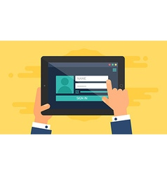 Web Template of Tablet Login Form vector image