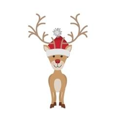 Reindeer front pose with christmas woolen hat vector